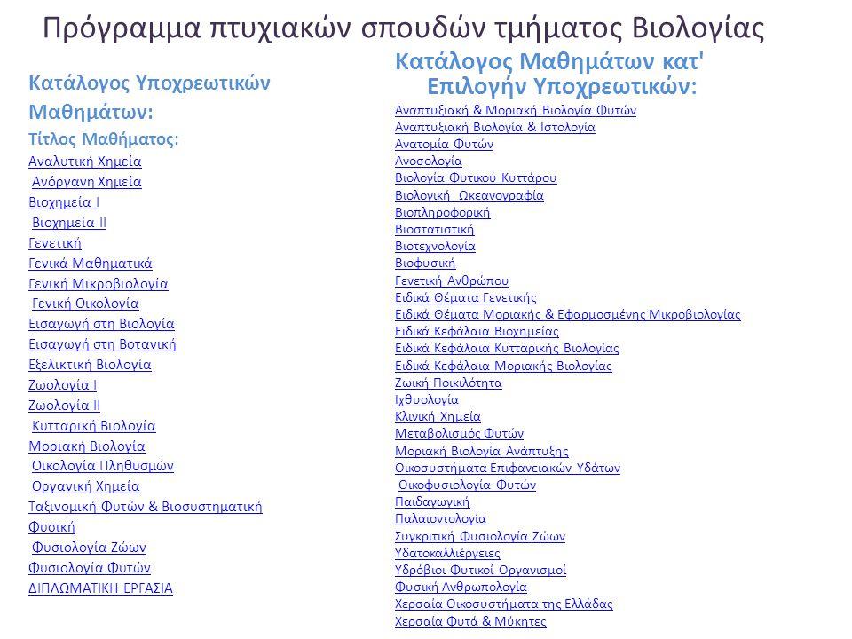 Πρόγραμμα πτυχιακών σπουδών τμήματος Βιολογίας Κατάλογος Υποχρεωτικών Μαθημάτων: Τίτλος Μαθήματος: Αναλυτική Χημεία Ανόργανη Χημεία Βιοχημεία Ι Βιοχημεία ΙΙ Γενετική Γενικά Μαθηματικά Γενική Μικροβιολογία Γενική Οικολογία Εισαγωγή στη Βιολογία Εισαγωγή στη Βοτανική Εξελικτική Βιολογία Ζωολογία Ι Ζωολογία ΙΙ Κυτταρική Βιολογία Μοριακή Βιολογία Οικολογία Πληθυσμών Οργανική Χημεία Ταξινομική Φυτών & Βιοσυστηματική Φυσική Φυσιολογία Ζώων Φυσιολογία Φυτών ΔΙΠΛΩΜΑΤΙΚΗ ΕΡΓΑΣΙΑ Κατάλογος Μαθημάτων κατ Επιλογήν Υποχρεωτικών: Αναπτυξιακή & Μοριακή Βιολογία Φυτών Αναπτυξιακή Βιολογία & Ιστολογία Ανατομία Φυτών Ανοσολογία Βιολογία Φυτικού Κυττάρου Βιολογική Ωκεανογραφία Βιοπληροφορική Βιοστατιστική Βιοτεχνολογία Βιοφυσική Γενετική Ανθρώπου Ειδικά Θέματα Γενετικής Ειδικά Θέματα Μοριακής & Εφαρμοσμένης Μικροβιολογίας Ειδικά Κεφάλαια Βιοχημείας Ειδικά Κεφάλαια Κυτταρικής Βιολογίας Ειδικά Κεφάλαια Μοριακής Βιολογίας Ζωική Ποικιλότητα Ιχθυολογία Κλινική Χημεία Μεταβολισμός Φυτών Μοριακή Βιολογία Ανάπτυξης Οικοσυστήματα Επιφανειακών Yδάτων Οικοφυσιολογία Φυτών Παιδαγωγική Παλαιοντολογία Συγκριτική Φυσιολογία Ζώων Υδατοκαλλιέργειες Υδρόβιοι Φυτικοί Οργανισμοί Φυσική Ανθρωπολογία Χερσαία Οικοσυστήματα της Ελλάδας Χερσαία Φυτά & Μύκητες