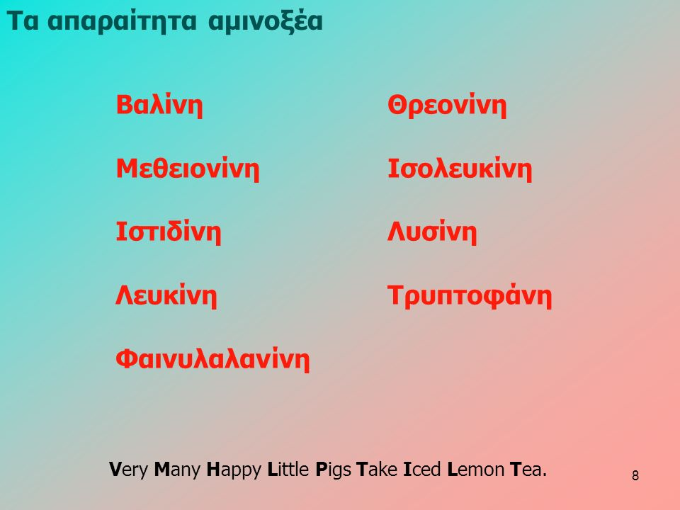 Τα απαραίτητα αμινοξέα ΒαλίνηΘρεονίνη ΜεθειονίνηΙσολευκίνη ΙστιδίνηΛυσίνη ΛευκίνηΤρυπτοφάνη Φαινυλαλανίνη Very Many Happy Little Pigs Take Iced Lemon Tea.