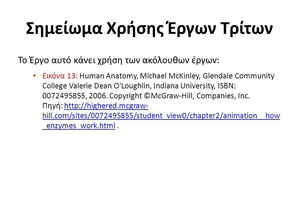 Σημείωμα Χρήσης Έργων Τρίτων Το Έργο αυτό κάνει χρήση των ακόλουθων έργων: Εικόνα 13: Human Anatomy, Michael McKinley, Glendale Community College Vale