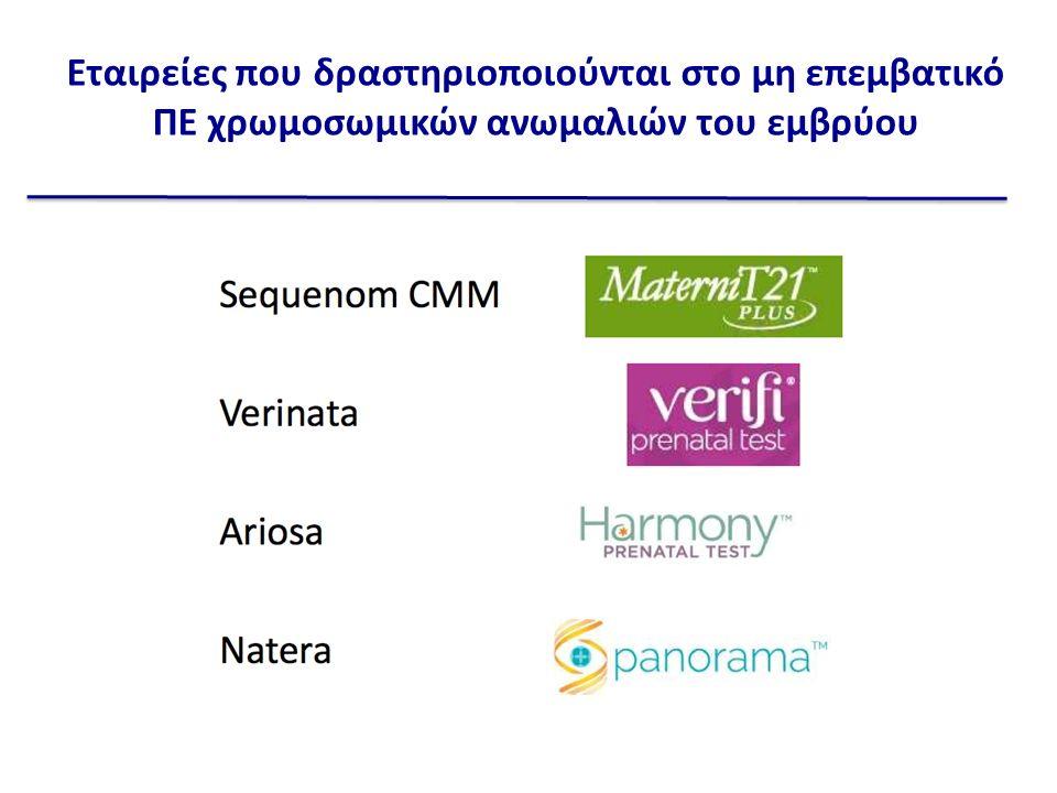 Εταιρείες που δραστηριοποιούνται στο μη επεμβατικό ΠΕ χρωμοσωμικών ανωμαλιών του εμβρύου
