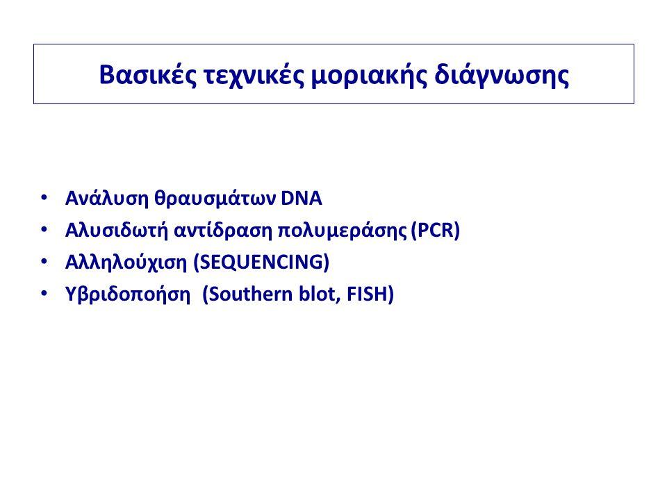 Βασικές τεχνικές μοριακής διάγνωσης Ανάλυση θραυσμάτων DNA Αλυσιδωτή αντίδραση πολυμεράσης (PCR) Αλληλούχιση (SEQUENCING) Υβριδοποήση (Southern blot, FISH)