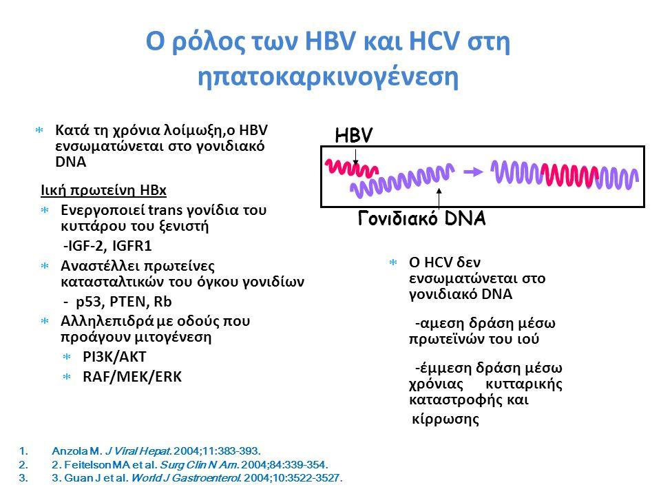 Ο ρόλος των HBV και HCV στη ηπατοκαρκινογένεση  Κατά τη χρόνια λοίμωξη,ο HBV ενσωματώνεται στο γονιδιακό DNA Ιική πρωτείνη HBx  Ενεργοποιεί trans γονίδια του κυττάρου του ξενιστή -IGF-2, IGFR1  Αναστέλλει πρωτείνες κατασταλτικών του όγκου γονιδίων - p53, PTEN, Rb  Αλληλεπιδρά με οδούς που προάγουν μιτογένεση  PI3K/AKT  RAF/MEK/ERK HBV Γονιδιακό DNA 1.Anzola M.