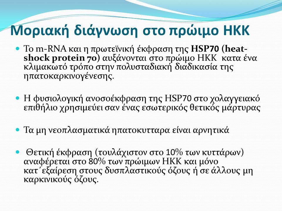 Μοριακή διάγνωση στο πρώιμο ΗΚΚ To m-RNA και η πρωτεϊνική έκφραση της HSP70 (heat- shock protein 70) αυξάνονται στο πρώιμο ΗΚΚ κατα ένα κλιμακωτό τρόπο στην πολυσταδιακή διαδικασία της ηπατοκαρκινογένεσης.