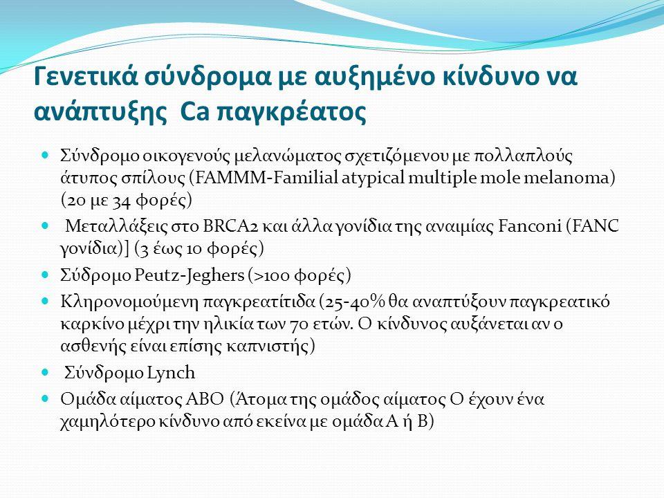 Γενετικά σύνδρομα με αυξημένο κίνδυνο να ανάπτυξης Ca παγκρέατος Σύνδρομο οικογενούς μελανώματος σχετιζόμενου με πολλαπλούς άτυπος σπίλους (FAMMM-Familial atypical multiple mole melanoma) (20 με 34 φορές) Μεταλλάξεις στο BRCA2 και άλλα γονίδια της αναιμίας Fanconi (FANC γονίδια)] (3 έως 10 φορές) Σύδρομο Peutz-Jeghers (>100 φορές) Κληρονομούμενη παγκρεατίτιδα (25-40% θα αναπτύξουν παγκρεατικό καρκίνο μέχρι την ηλικία των 70 ετών.