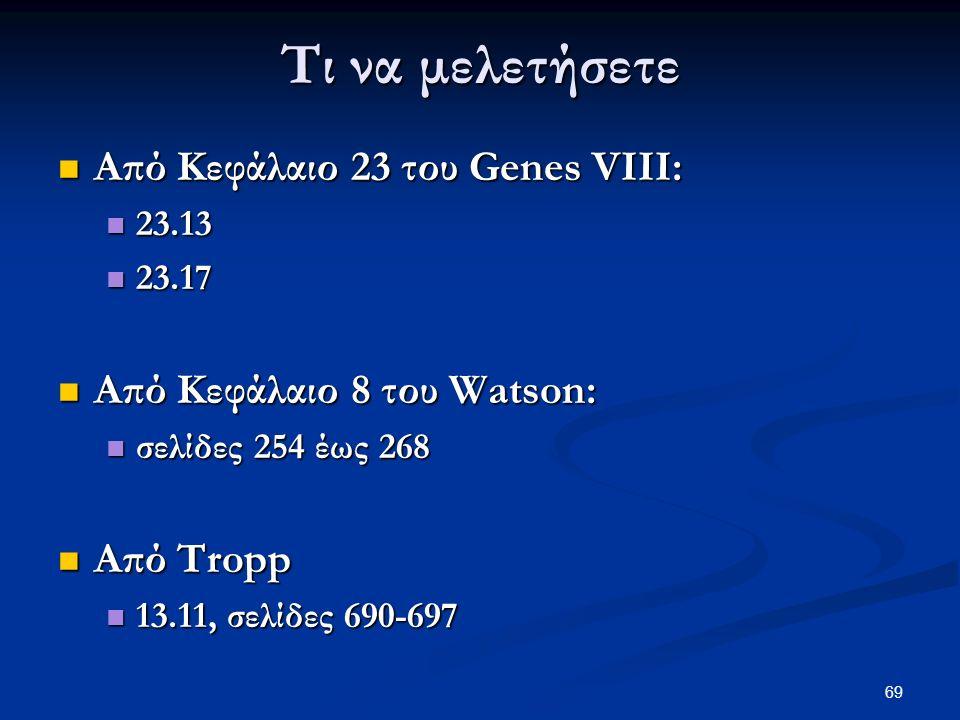 69 Τι να μελετήσετε Από Κεφάλαιο 23 του Genes VIII: Από Κεφάλαιο 23 του Genes VIII: 23.13 23.13 23.17 23.17 Από Κεφάλαιο 8 του Watson: Από Κεφάλαιο 8 του Watson: σελίδες 254 έως 268 σελίδες 254 έως 268 Από Tropp Από Tropp 13.11, σελίδες 690-697 13.11, σελίδες 690-697