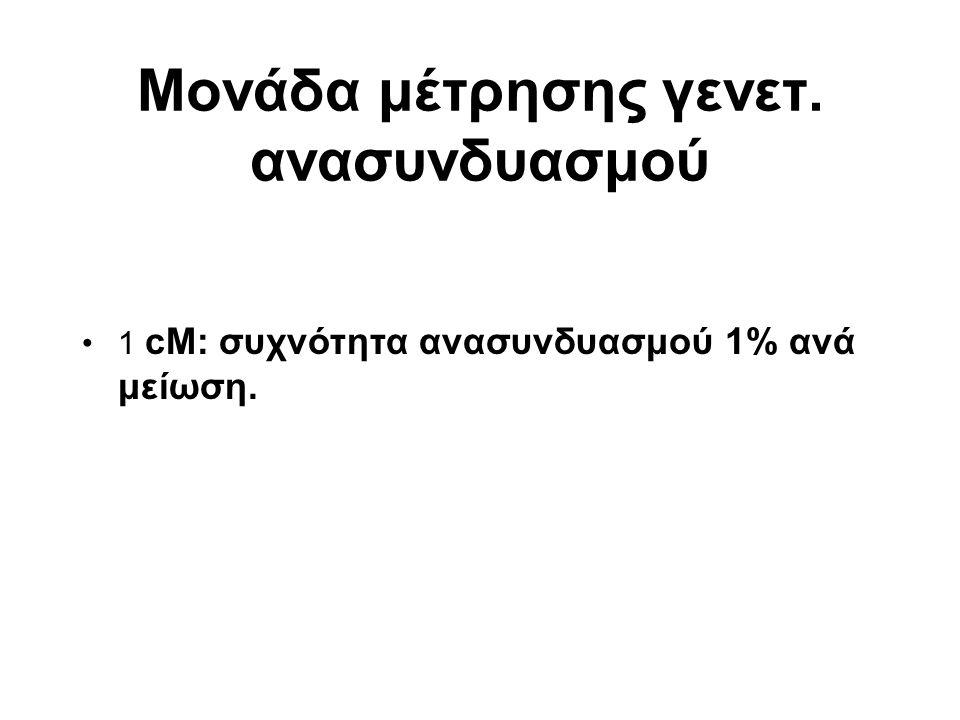 Μονάδα μέτρησης γενετ. ανασυνδυασμού 1 cM: συχνότητα ανασυνδυασμού 1% ανά μείωση.
