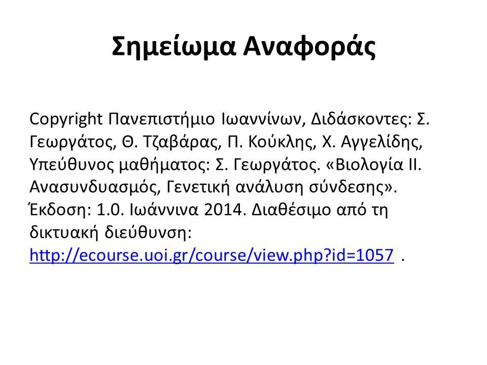 Σημείωμα Αναφοράς Copyright Πανεπιστήμιο Ιωαννίνων, Διδάσκοντες: Σ.