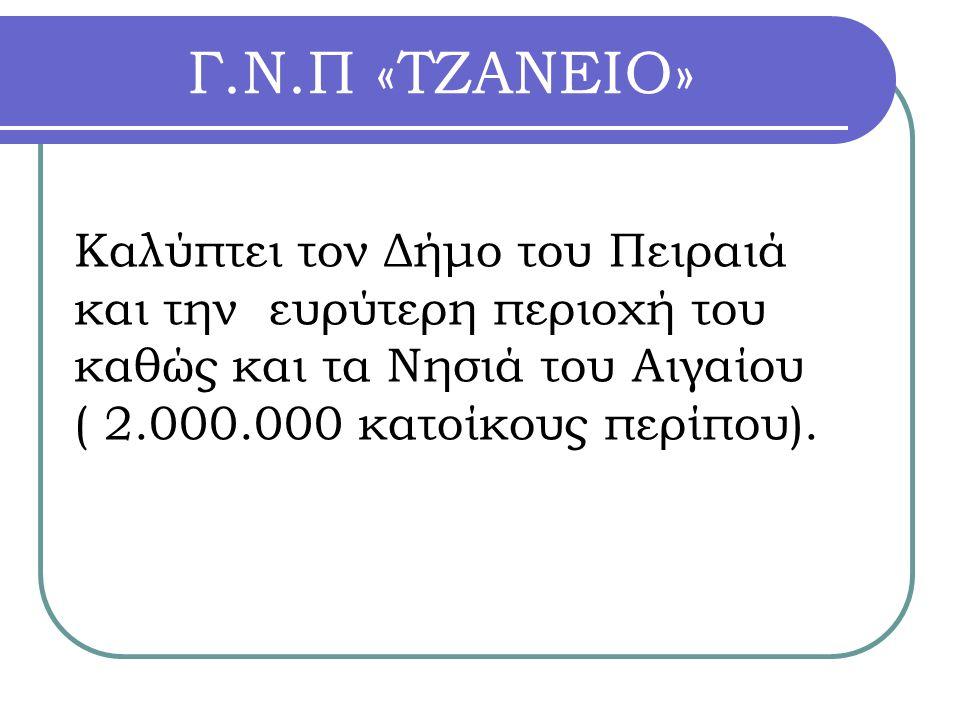 Γ.Ν.Π «ΤΖΑΝΕΙΟ» Καλύπτει τον Δήμο του Πειραιά και την ευρύτερη περιοχή του καθώς και τα Νησιά του Αιγαίου ( 2.000.000 κατοίκους περίπου).