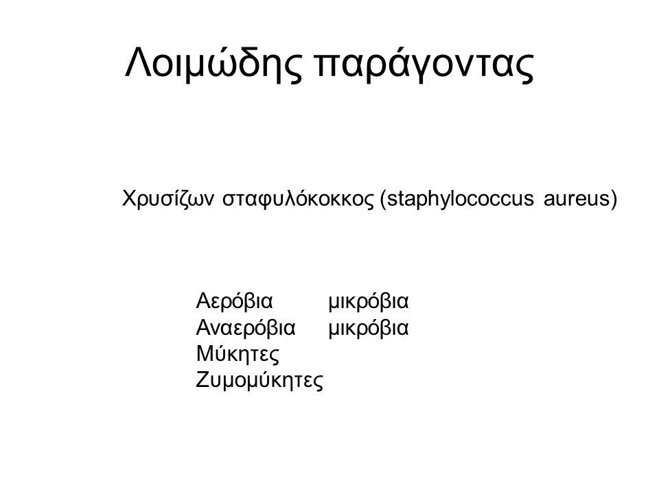 Λοιμώδης παράγοντας Χρυσίζων σταφυλόκοκκος (staphylococcus aureus) Αερόβια μικρόβια Αναερόβιαμικρόβια Μύκητες Ζυμομύκητες