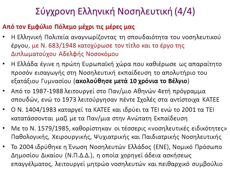 Σύγχρονη Ελληνική Νοσηλευτική (4/4) Από τον Εμφύλιο Πόλεμο μέχρι τις μέρες μας Η Ελληνική Πολιτεία αναγνωρίζοντας τη σπουδαιότητα του νοσηλευτικού έργου, με Ν.
