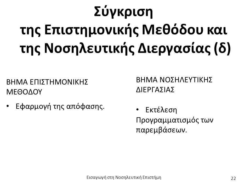Σύγκριση της Επιστημονικής Μεθόδου και της Νοσηλευτικής Διεργασίας (δ) ΒΗΜΑ ΕΠΙΣΤΗΜΟΝΙΚΗΣ ΜΕΘΟΔΟΥ Εφαρμογή της απόφασης. ΒΗΜΑ ΝΟΣΗΛΕΥΤΙΚΗΣ ΔΙΕΡΓΑΣΙΑΣ