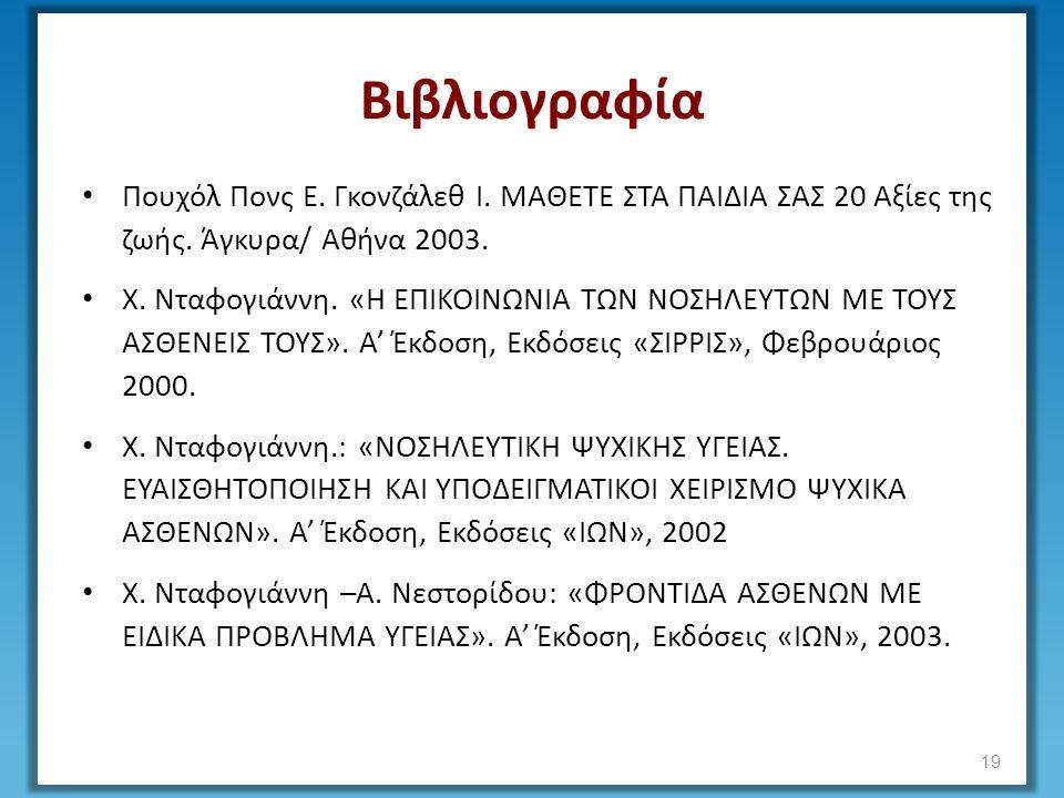 Βιβλιογραφία Πουχόλ Πονς Ε. Γκονζάλεθ Ι. ΜΑΘΕΤΕ ΣΤΑ ΠΑΙΔΙΑ ΣΑΣ 20 Αξίες της ζωής. Άγκυρα/ Αθήνα 2003. Χ. Νταφογιάννη. «Η ΕΠΙΚΟΙΝΩΝΙΑ ΤΩΝ ΝΟΣΗΛΕΥΤΩΝ ΜΕ