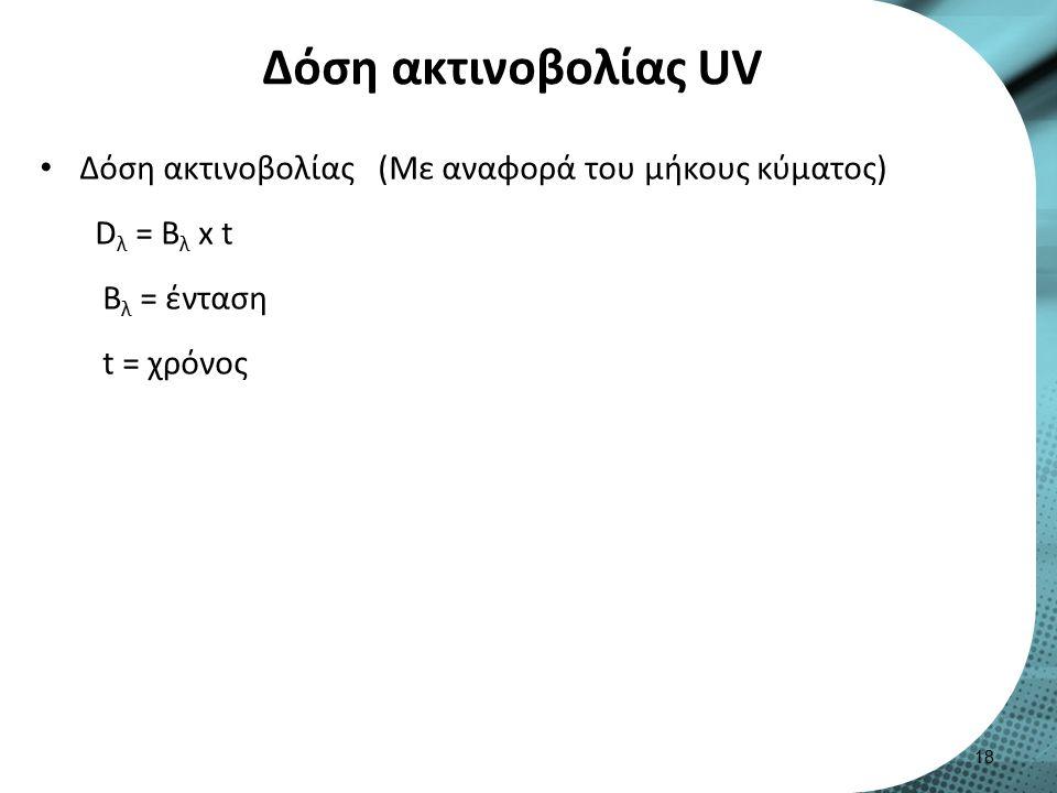 Δόση ακτινοβολίας UV Δόση ακτινοβολίας (Με αναφορά του μήκους κύματος) D λ = Β λ x t Β λ = ένταση t = χρόνος 18