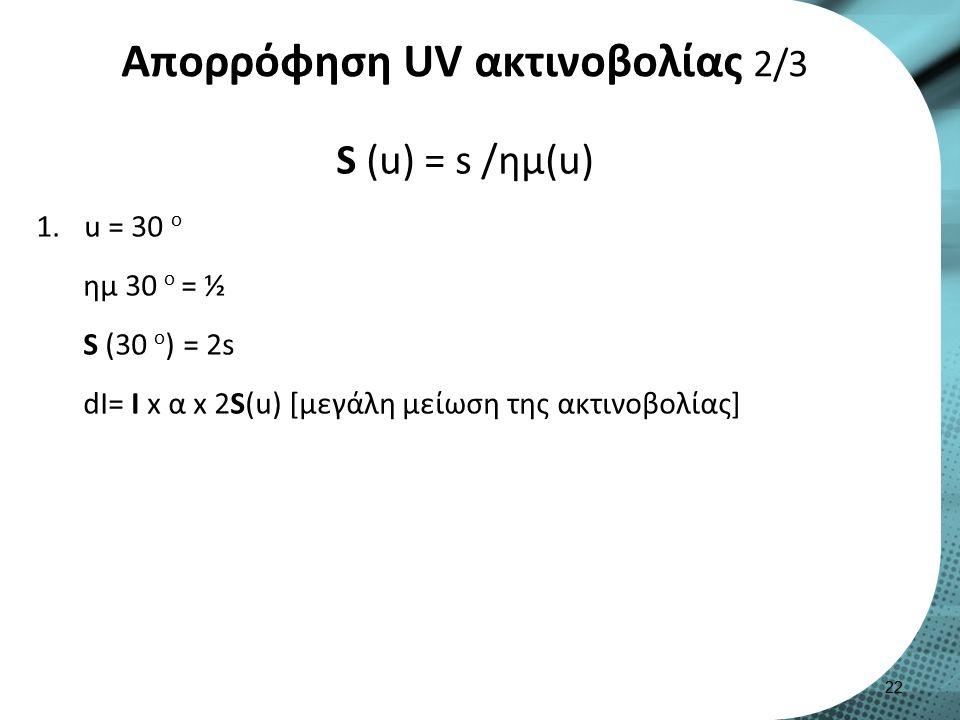Απορρόφηση UV ακτινοβολίας 2/3 S (u) = s /ημ(u) 1.u = 30 o ημ 30 o = ½ S (30 o ) = 2s dI= I x α x 2S(u) [μεγάλη μείωση της ακτινοβολίας] 22