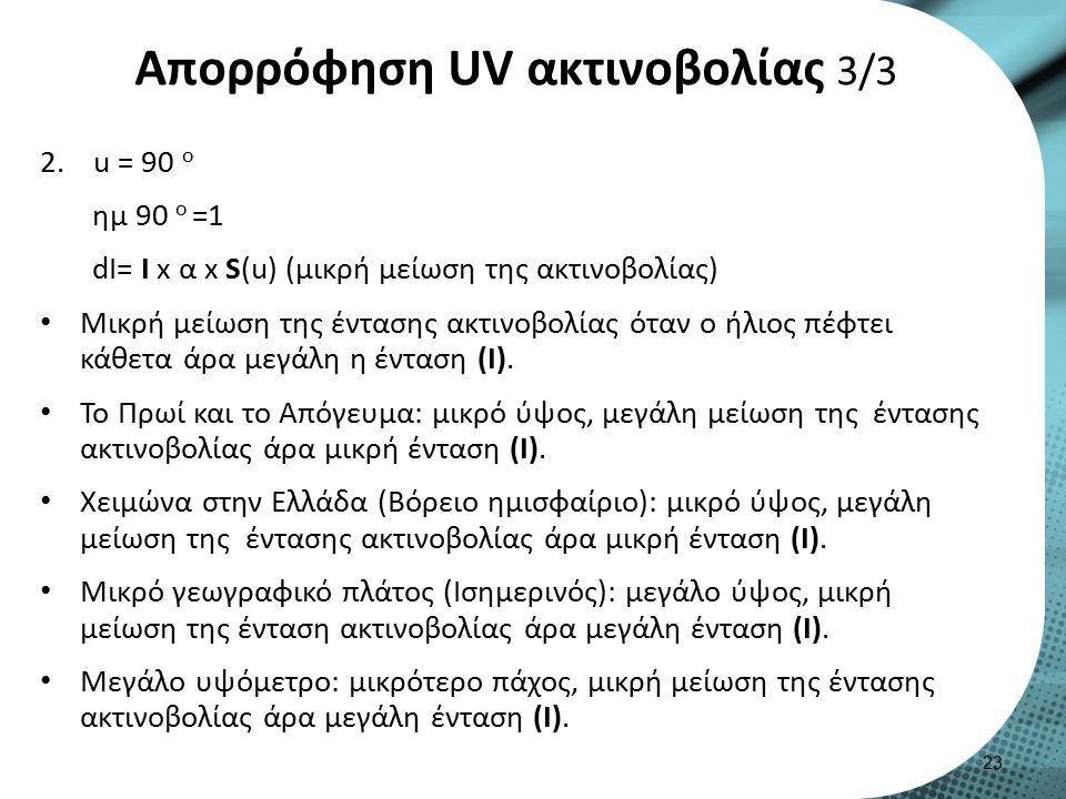 Απορρόφηση UV ακτινοβολίας 3/3 2.u = 90 o ημ 90 o =1 dI= I x α x S(u) (μικρή μείωση της ακτινοβολίας) Μικρή μείωση της έντασης ακτινοβολίας όταν ο ήλιος πέφτει κάθετα άρα μεγάλη η ένταση (Ι).