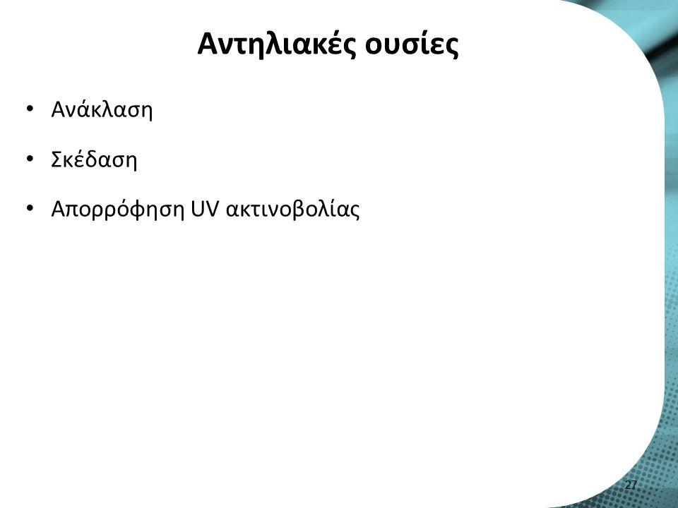 Αντηλιακές ουσίες Ανάκλαση Σκέδαση Απορρόφηση UV ακτινοβολίας 27
