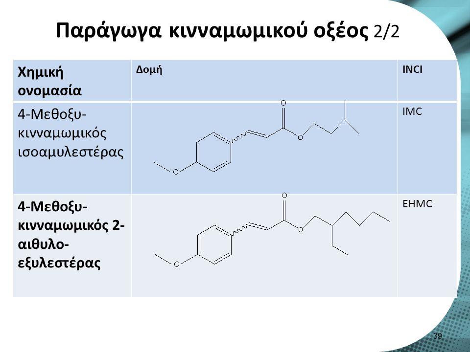Παράγωγα κινναμωμικού οξέος 2/2 Χημική ονομασία ΔομήINCI 4-Μεθοξυ- κινναμωμικός ισοαμυλεστέρας IMC 4-Μεθοξυ- κινναμωμικός 2- αιθυλο- εξυλεστέρας EHMC 39