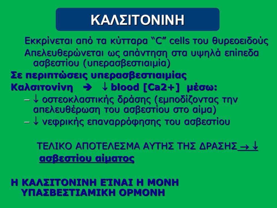ΚΑΛΣΙΤΟΝΙΝΗ Εκκρίνεται από τα κύτταρα C cells του θυρεοειδούς Απελευθερώνεται ως απάντηση στα υψηλά επίπεδα ασβεστίου (υπερασβεστιαιμία) Σε περιπτώσεις υπερασβεστιαιμίας Καλσιτονίνη   blood [Ca2+] μέσω: –  οστεοκλαστικής δράσης (εμποδίζοντας την απελευθέρωση του ασβεστίου στο αίμα) –  νεφρικής επαναρρόφησης του ασβεστίου ΤΕΛΙΚΟ ΑΠΟΤΕΛΕΣΜΑ ΑΥΤΗΣ ΤΗΣ ΔΡΑΣΗΣ   ΤΕΛΙΚΟ ΑΠΟΤΕΛΕΣΜΑ ΑΥΤΗΣ ΤΗΣ ΔΡΑΣΗΣ   ασβεστίου αίματος ασβεστίου αίματος Η ΚΑΛΣΙΤΟΝΙΝΗ ΕΊΝΑΙ Η ΜΟΝΗ ΥΠΑΣΒΕΣΤΙΑΜΙΚΗ ΟΡΜΟΝΗ