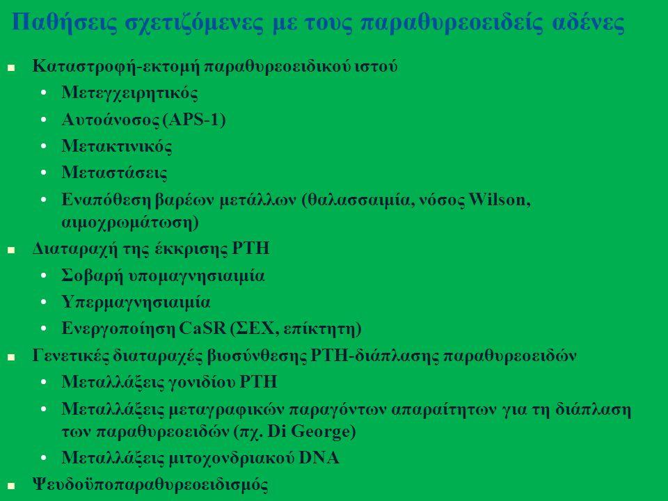 Παθήσεις σχετιζόμενες με τους παραθυρεοειδείς αδένες Καταστροφή-εκτομή παραθυρεοειδικού ιστού Μετεγχειρητικός Αυτοάνοσος (APS-1) Μετακτινικός Μεταστάσεις Εναπόθεση βαρέων μετάλλων (θαλασσαιμία, νόσος Wilson, αιμοχρωμάτωση) Διαταραχή της έκκρισης PTH Σοβαρή υπομαγνησιαιμία Υπερμαγνησιαιμία Ενεργοποίηση CaSR (ΣΕΧ, επίκτητη) Γενετικές διαταραχές βιοσύνθεσης PTH-διάπλασης παραθυρεοειδών Μεταλλάξεις γονιδίου PTH Μεταλλάξεις μεταγραφικών παραγόντων απαραίτητων για τη διάπλαση των παραθυρεοειδών (πχ.