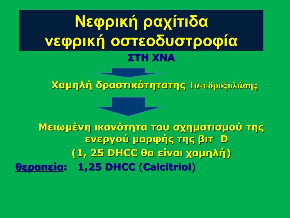ΣΤΗ ΧΝΑ Χαμηλή δραστικότητατης 1α-υδροξυλάσης Χαμηλή δραστικότητατης 1α-υδροξυλάσης Μειωμένη ικανότητα του σχηματισμού της ενεργού μορφής της βιτ D (1, 25 DHCC θα είναι χαμηλή) θεραπεία: 1,25 DHCC (Calcitriol) Νεφρική ραχίτιδα νεφρική οστεοδυστροφία