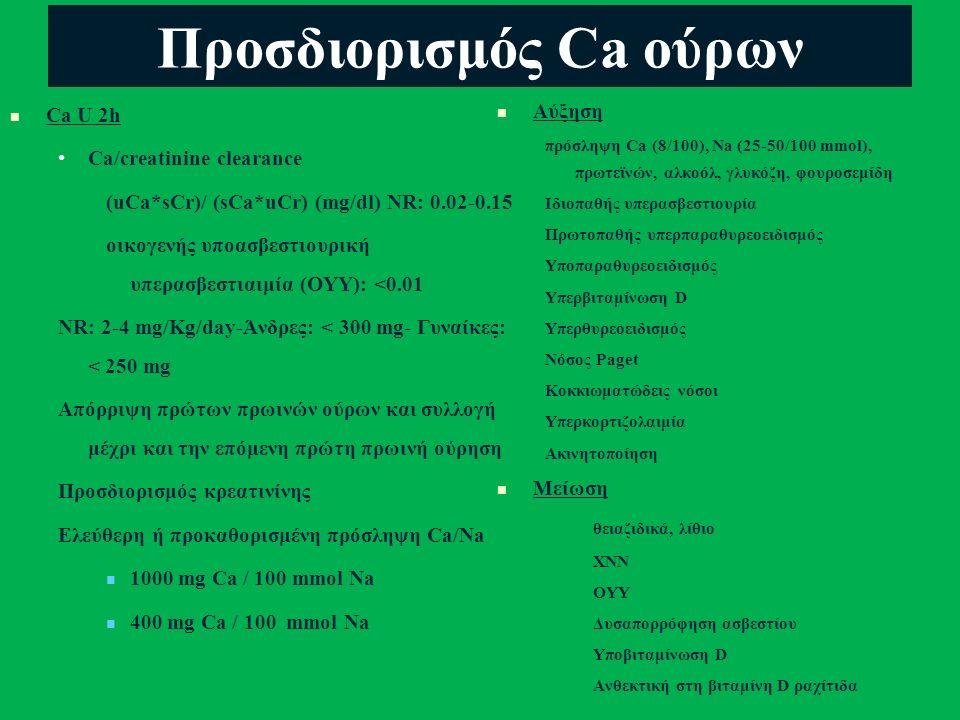 Προσδιορισμός Ca ούρων Ca U 2h Ca/creatinine clearance (uCa*sCr)/ (sCa*uCr) (mg/dl) NR: 0.02-0.15 οικογενής υποασβεστιουρική υπερασβεστιαιμία (OYY): <0.01 NR: 2-4 mg/Kg/day-Άνδρες: < 300 mg- Γυναίκες: < 250 mg Απόρριψη πρώτων πρωινών ούρων και συλλογή μέχρι και την επόμενη πρώτη πρωινή ούρηση Προσδιορισμός κρεατινίνης Ελεύθερη ή προκαθορισμένη πρόσληψη Ca/Na 1000 mg Ca / 100 mmol Na 400 mg Ca / 100 mmol Na Αύξηση πρόσληψη Ca (8/100), Na (25-50/100 mmol), πρωτεϊνών, αλκοόλ, γλυκόζη, φουροσεμίδη Ιδιοπαθής υπερασβεστιουρία Πρωτοπαθής υπερπαραθυρεοειδισμός Υποπαραθυρεοειδισμός Υπερβιταμίνωση D Υπερθυρεοειδισμός Νόσος Paget Κοκκιωματώδεις νόσοι Υπερκορτιζολαιμία Ακινητοποίηση Μείωση θειαζιδικά, λίθιο ΧΝΝ ΟΥΥ Δυσαπορρόφηση ασβεστίου Υποβιταμίνωση D Ανθεκτική στη βιταμίνη D ραχίτιδα