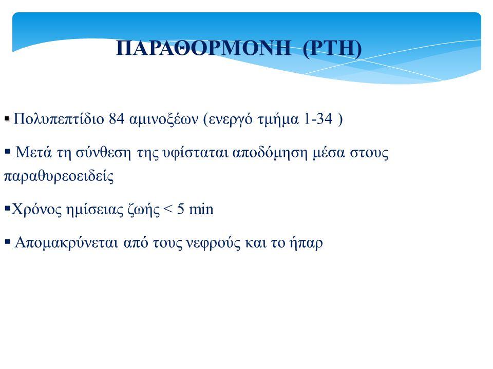 ΠΑΡΑΘΟΡΜΟΝΗ (ΡΤΗ)   Πολυπεπτίδιο 84 αμινοξέων (ενεργό τμήμα 1-34 )  Μετά τη σύνθεση της υφίσταται αποδόμηση μέσα στους παραθυρεοειδείς  Χρόνος ημί