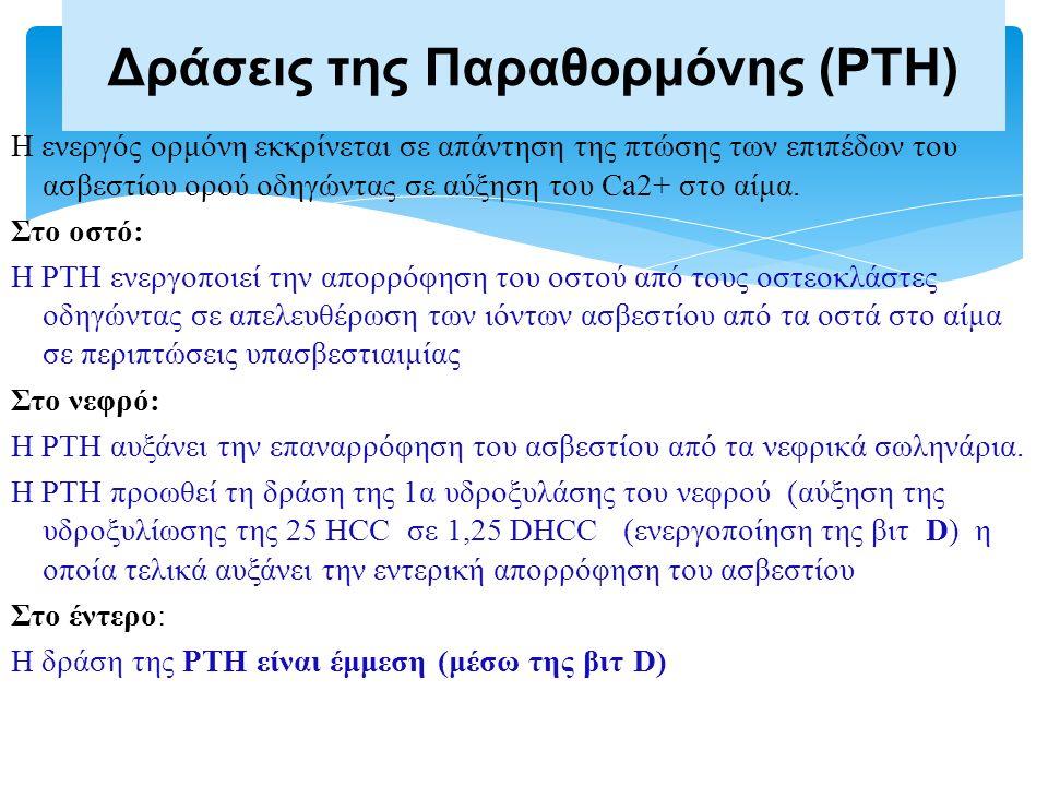 Η ενεργός ορμόνη εκκρίνεται σε απάντηση της πτώσης των επιπέδων του ασβεστίου ορού οδηγώντας σε αύξηση του Ca2+ στο αίμα. Στο οστό: Η PTH ενεργοποιεί