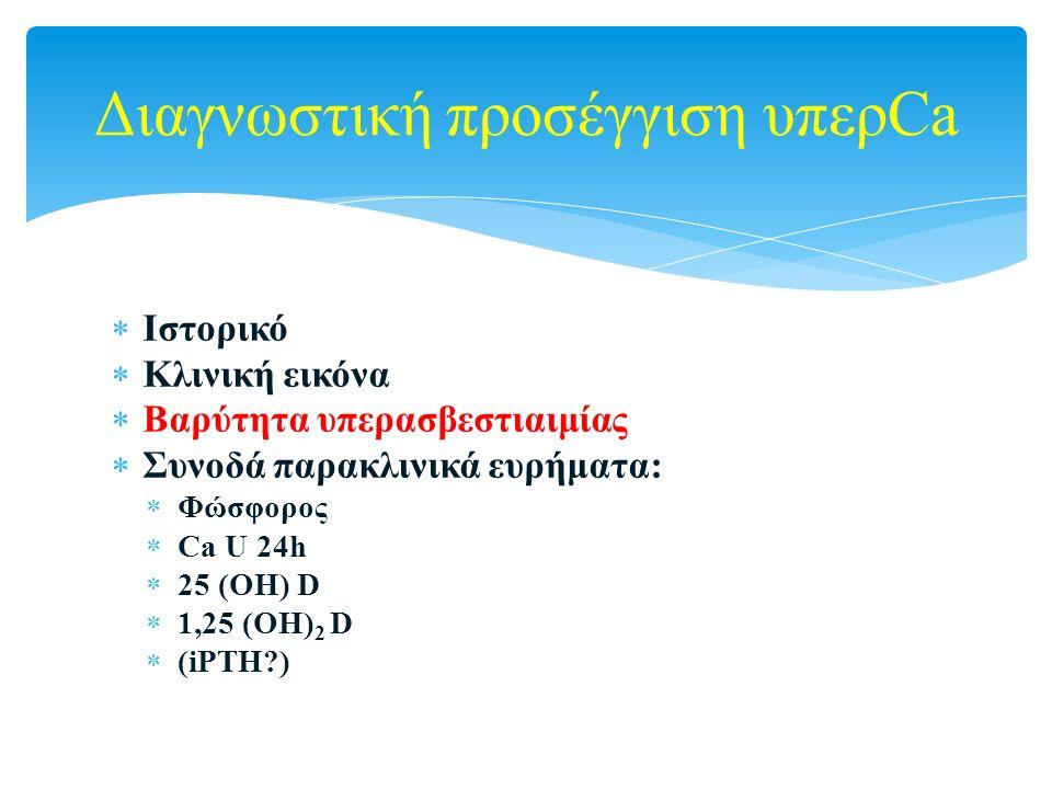  Ιστορικό  Κλινική εικόνα  Βαρύτητα υπερασβεστιαιμίας  Συνοδά παρακλινικά ευρήματα:  Φώσφορος  Ca U 24h  25 (ΟΗ) D  1,25 (ΟΗ) 2 D  (iPTH?) Δι