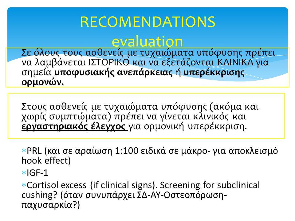 Σε όλους τους ασθενείς με τυχαιώματα υπόφυσης πρέπει να λαμβάνεται ΙΣΤΟΡΙΚΟ και να εξετάζονται ΚΛΙΝΙΚΑ για σημεία υποφυσιακής ανεπάρκειας ή υπερέκκρισ