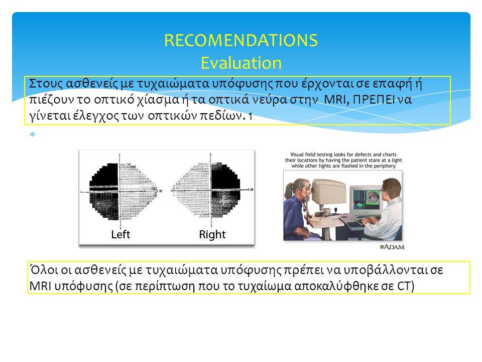 Στους ασθενείς με τυχαιώματα υπόφυσης που έρχονται σε επαφή ή πιέζουν το οπτικό χίασμα ή τα οπτικά νεύρα στην MRI, ΠΡΕΠΕΙ να γίνεται έλεγχος των οπτικ