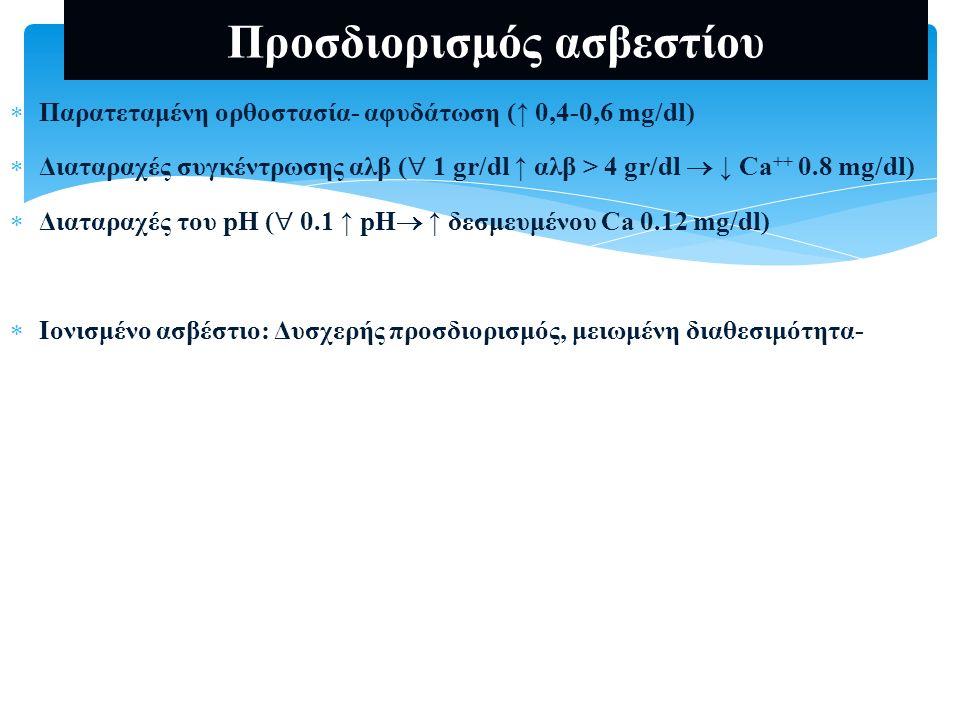 Προσδιορισμός Ca ούρων  Ca U 24h  Ca/creatinine clearance (uCa*sCr)/ (sCa*uCr) (mg/dl) NR: 0.02-0.15 NR: 2-4 mg/Kg/day-Άνδρες: < 300 mg- Γυναίκες: < 250 mg Ελεύθερη ή προκαθορισμένη πρόσληψη Ca/Na  1000 mg Ca / 100 mmol Na  400 mg Ca / 100 mmol Na  Αύξηση πρόσληψη Ca (8/100), Na (25-50/100 mmol), πρωτεϊνών, αλκοόλ, γλυκόζη, φουροσεμίδη Ιδιοπαθής υπερασβεστιουρία Πρωτοπαθής υπερπαραθυρεοειδισμός Υποπαραθυρεοειδισμός Υπερβιταμίνωση D Υπερθυρεοειδισμός Νόσος Paget Κοκκιωματώδεις νόσοι Υπερκορτιζολαιμία Ακινητοποίηση  Μείωση θειαζιδικά, λίθιο ΧΝΝ ΟΥΥ Δυσαπορρόφηση ασβεστίου Υποβιταμίνωση D Ανθεκτική στη βιταμίνη D ραχίτιδα