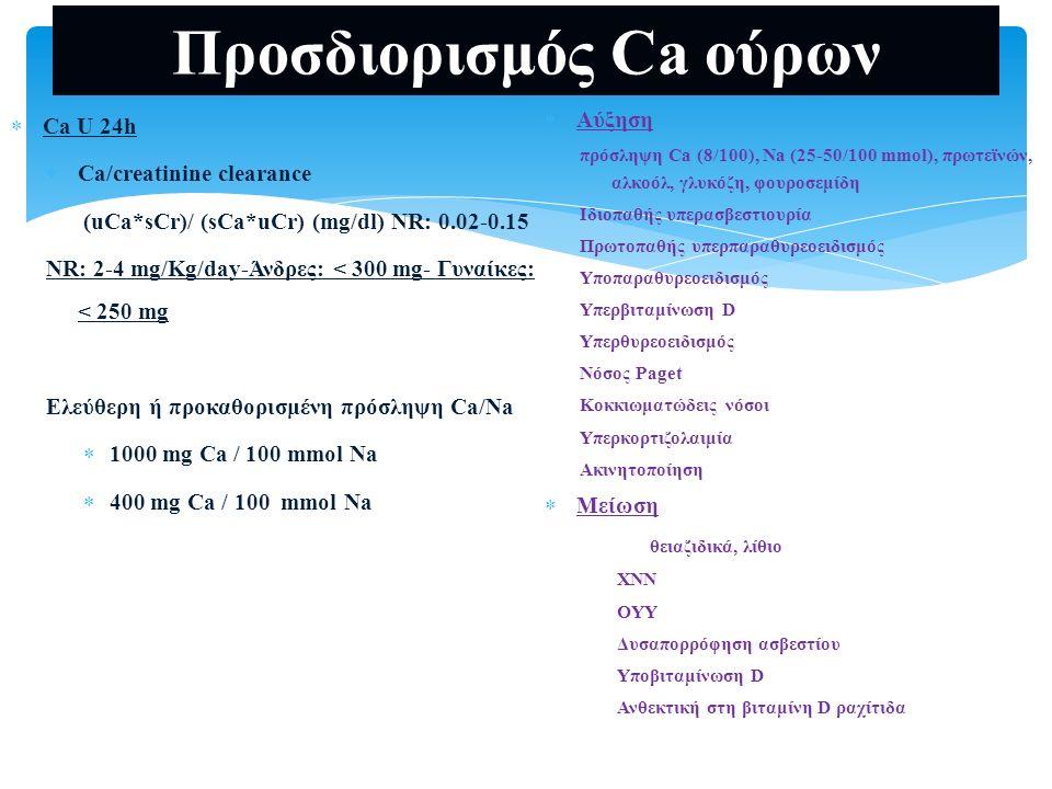 Προσδιορισμός Ca ούρων  Ca U 24h  Ca/creatinine clearance (uCa*sCr)/ (sCa*uCr) (mg/dl) NR: 0.02-0.15 NR: 2-4 mg/Kg/day-Άνδρες: < 300 mg- Γυναίκες: <