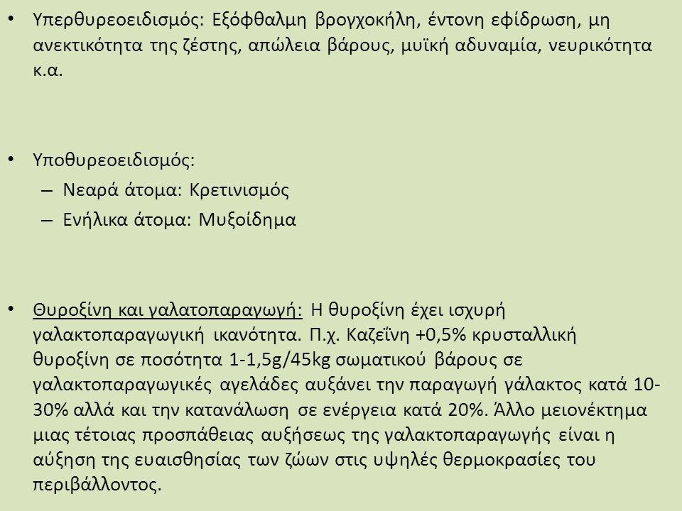 Υπερθυρεοειδισμός: Εξόφθαλμη βρογχοκήλη, έντονη εφίδρωση, μη ανεκτικότητα της ζέστης, απώλεια βάρους, μυϊκή αδυναμία, νευρικότητα κ.α.