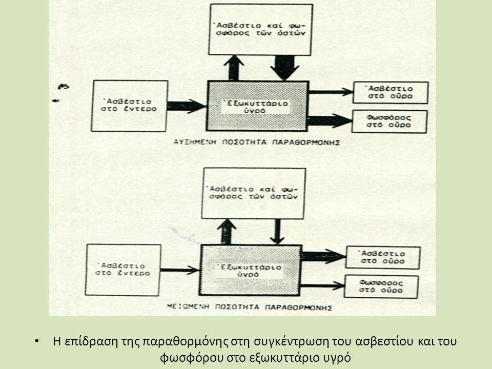 Η επίδραση της παραθορμόνης στη συγκέντρωση του ασβεστίου και του φωσφόρου στο εξωκυττάριο υγρό