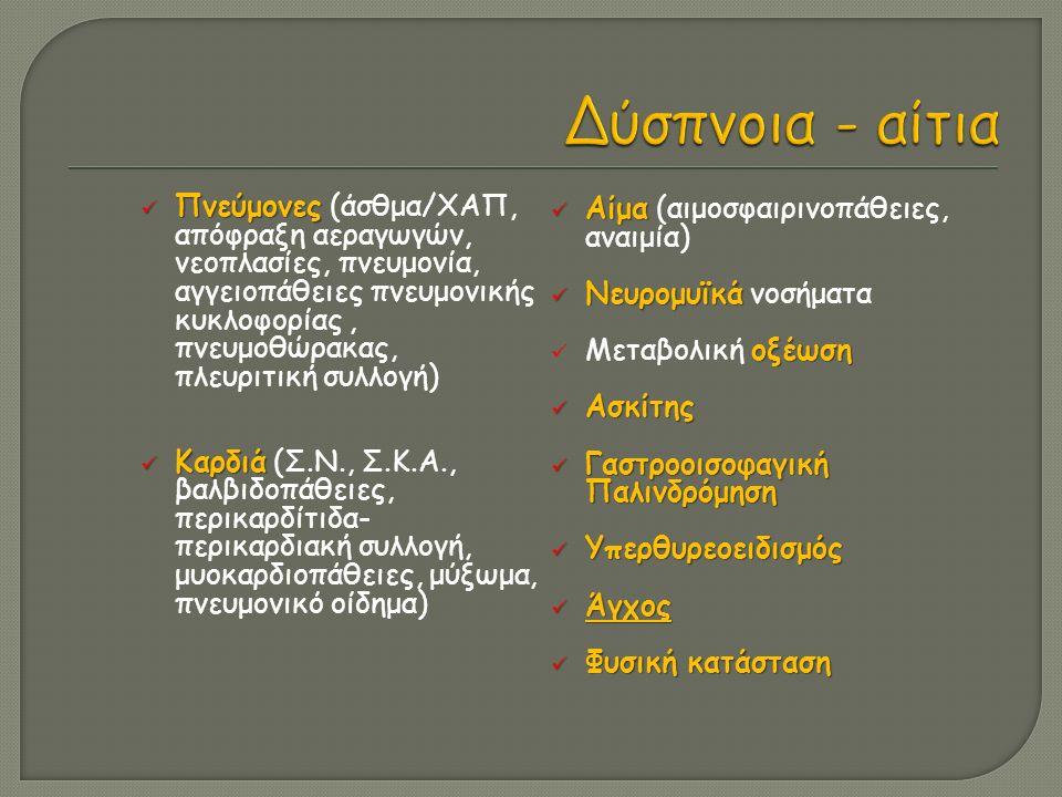  Συχνότητα (>20/min, <12/min) αναπνοών  Βάθος και ακανόνιστος ρυθμός αναπνοής  Μη επαρκής έκπτυξη θώρακα  Μείωση αναπνευστικού ψιθυρίσματος  Χρήση επικουρικών μυών  Κυάνωση δέρματος, βλεννογόνων  Κρύο, ξηρό δέρμα Χρήση επικουρικών μυών  Εισολκή μεσοπλεύριων διαστημάτων  Εισολκή σφαγής  Χρήση στερνοκλειδομαστοειδών μυών  Αναπέταση ρινικών πτερυγίων