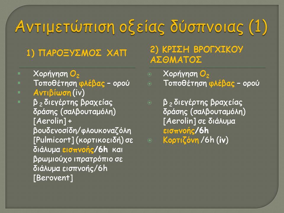 1) ΠΑΡΟΞΥΣΜΟΣ ΧΑΠ 2) ΚΡΙΣΗ ΒΡΟΓΧΙΚΟΥ ΑΣΘΜΑΤΟΣ  Χορήγηση Ο 2  Τοποθέτηση φλέβας – ορού  Αντιβίωση (iv)  β 2 διεγέρτης βραχείας δράσης (σαλβουταμόλη) [Aerolin] + βουδενοσίδη/φλουκοναζόλη [Pulmicort] (κορτικοειδή) σε διάλυμα εισπνοής/6h και βρωμιούχο ιπρατρόπιο σε διάλυμα εισπνοής/6h [Berovent]  Χορήγηση Ο 2  Τοποθέτηση φλέβας – ορού  β 2 διεγέρτης βραχείας δράσης (σαλβουταμόλη) [Aerolin] σε διάλυμα εισπνοής/6h  Κορτιζόνη /6h (iv)