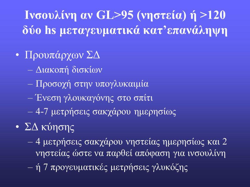 Ινσουλίνη αν GL>95 (νηστεία) ή >120 δύο hs μεταγευματικά κατ'επανάληψη Προυπάρχων ΣΔ –Διακοπή δισκίων –Προσοχή στην υπογλυκαιμία –Ένεση γλουκαγόνης στο σπίτι –4-7 μετρήσεις σακχάρου ημερησίως ΣΔ κύησης –4 μετρήσεις σακχάρου νηστείας ημερησίως και 2 νηστείας ώστε να παρθεί απόφαση για ινσουλίνη –ή 7 προγευματικές μετρήσεις γλυκόζης