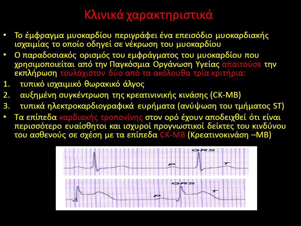Κλινικά χαρακτηριστικά Το έμφραγμα μυοκαρδίου περιγράφει ένα επεισόδιο μυοκαρδιακής ισχαιμίας το οποίο οδηγεί σε νέκρωση του μυοκαρδίου Ο παραδοσιακός ορισμός του εμφράγματος του μυοκαρδίου που χρησιμοποιείται από την Παγκόσμια Οργάνωση Υγείας απαιτούσε την εκπλήρωση τουλάχιστον δύο από τα ακόλουθα τρία κριτήρια: 1.τυπικό ισχαιμικό θωρακικό άλγος 2.αυξημένη συγκέντρωση της κρεατινινικής κινάσης (CK-MB) 3.τυπικά ηλεκτροκαρδιογραφικά ευρήματα (ανύψωση του τμήματος ST) Τα επίπεδα καρδιακής τροπονίνης στον ορό έχουν αποδειχθεί ότι είναι περισσότερο ευαίσθητοι και ισχυροί προγνωστικοί δείκτες του κινδύνου του ασθενούς σε σχέση με τα επίπεδα CK-MB (Κρεατινοκινάση –MB)