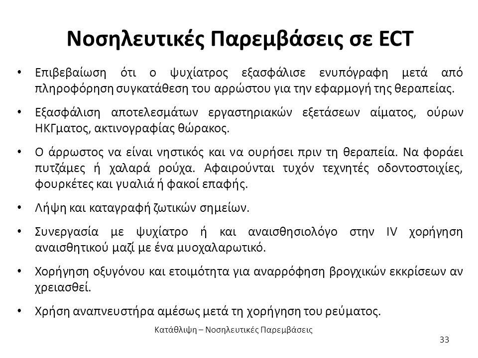 Νοσηλευτικές Παρεμβάσεις σε ECT Επιβεβαίωση ότι ο ψυχίατρος εξασφάλισε ενυπόγραφη μετά από πληροφόρηση συγκατάθεση του αρρώστου για την εφαρμογή της θεραπείας.