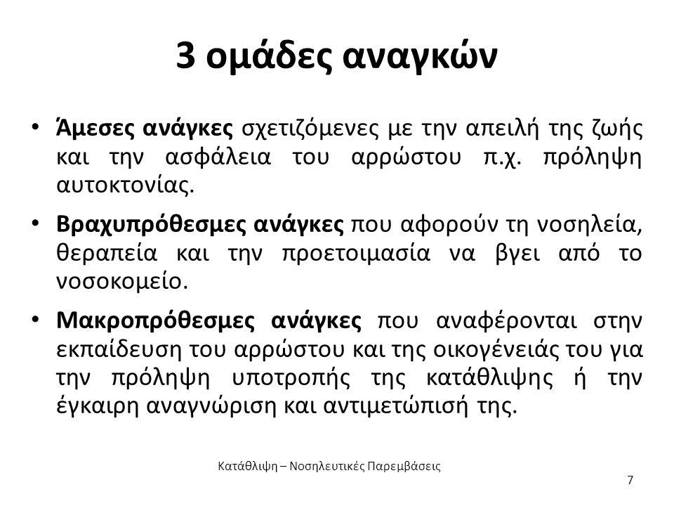 Αδυναμία (5) Σχετίζεται με την έλλειψη ψυχικής ενέργειας για να πάρει αποφάσεις και να συμμετάσχει ενεργητικά στη ζωή.