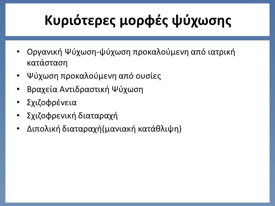 Κυριότερες μορφές ψύχωσης Οργανική Ψύχωση-ψύχωση προκαλούμενη από ιατρική κατάσταση Ψύχωση προκαλούμενη από ουσίες Βραχεία Αντιδραστική Ψύχωση Σχιζοφρένεια Σχιζοφρενική διαταραχή Διπολική διαταραχή(μανιακή κατάθλιψη)