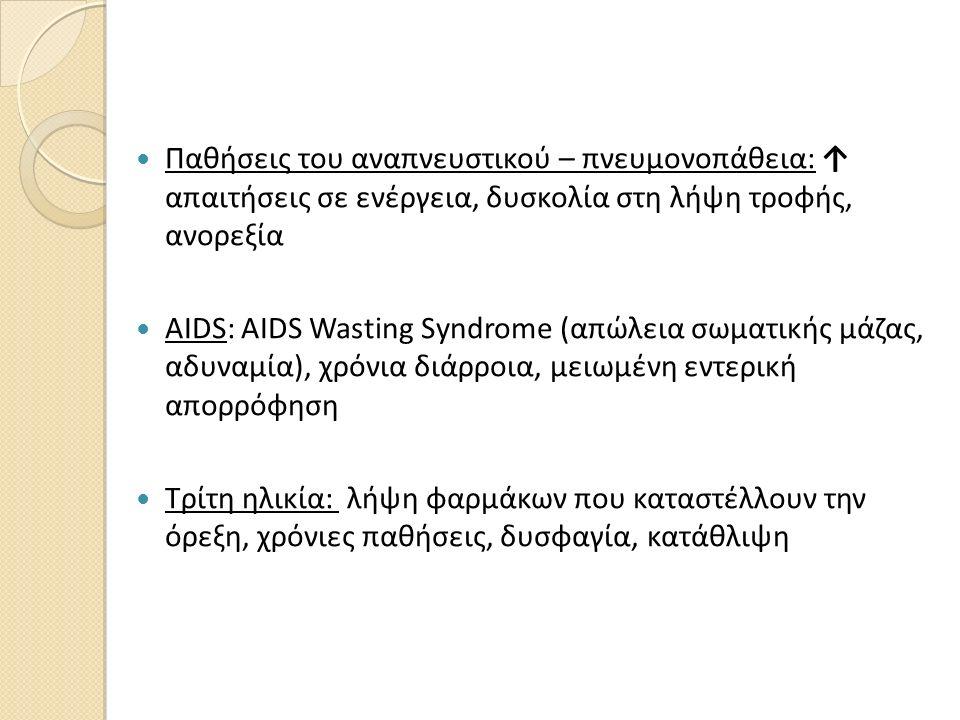 Παθήσεις του αναπνευστικού – πνευμονοπάθεια: ↑ απαιτήσεις σε ενέργεια, δυσκολία στη λήψη τροφής, ανορεξία AIDS: AIDS Wasting Syndrome (απώλεια σωματικ