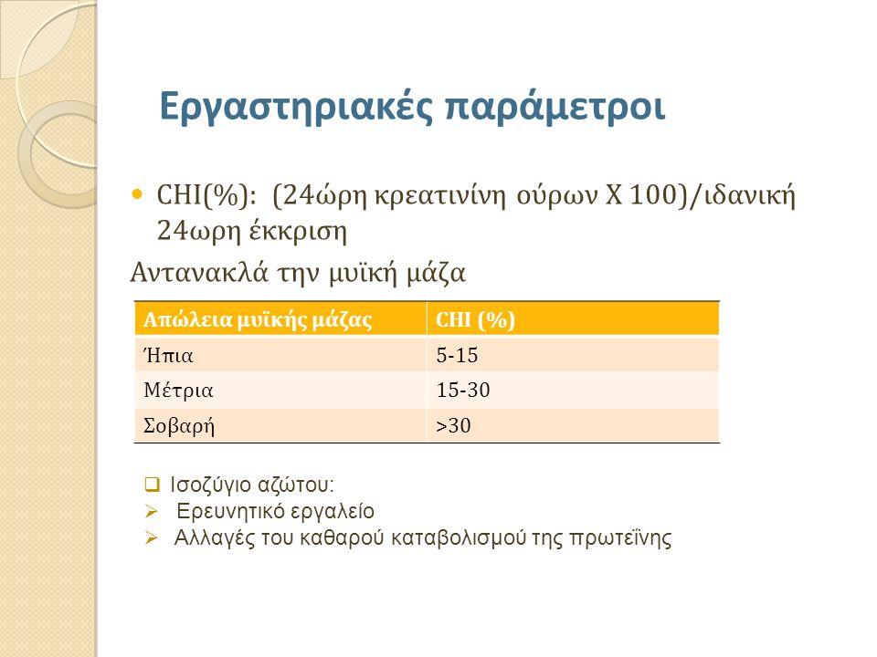 CHI(%): (24ώρη κρεατινίνη ούρων Χ 100)/ιδανική 24ωρη έκκριση Αντανακλά την μυϊκή μάζα Εργαστηριακές παράμετροι Απώλεια μυϊκής μάζαςCHI (%) Ήπια5-15 Μέ
