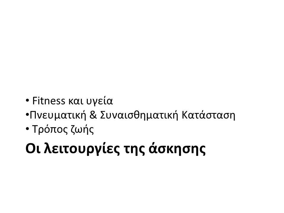 Fitness και υγεία Πνευματική & Συναισθηματική Κατάσταση Τρόπος ζωής Οι λειτουργίες της άσκησης