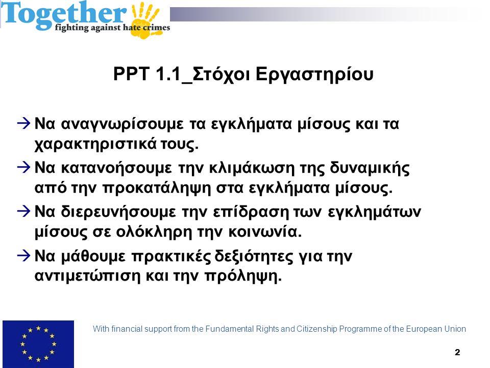 3 PPT 2.1_Ορισμός στερεοτύπων Η αντίληψη για ένα πρόσωπο ή μια ομάδα ανθρώπων που υποθέτει ότι ο καθένας σε αυτή την ομάδα μοιράζεται ένα συγκεκριμένο χαρακτηριστικό With financial support from the Fundamental Rights and Citizenship Programme of the European Union