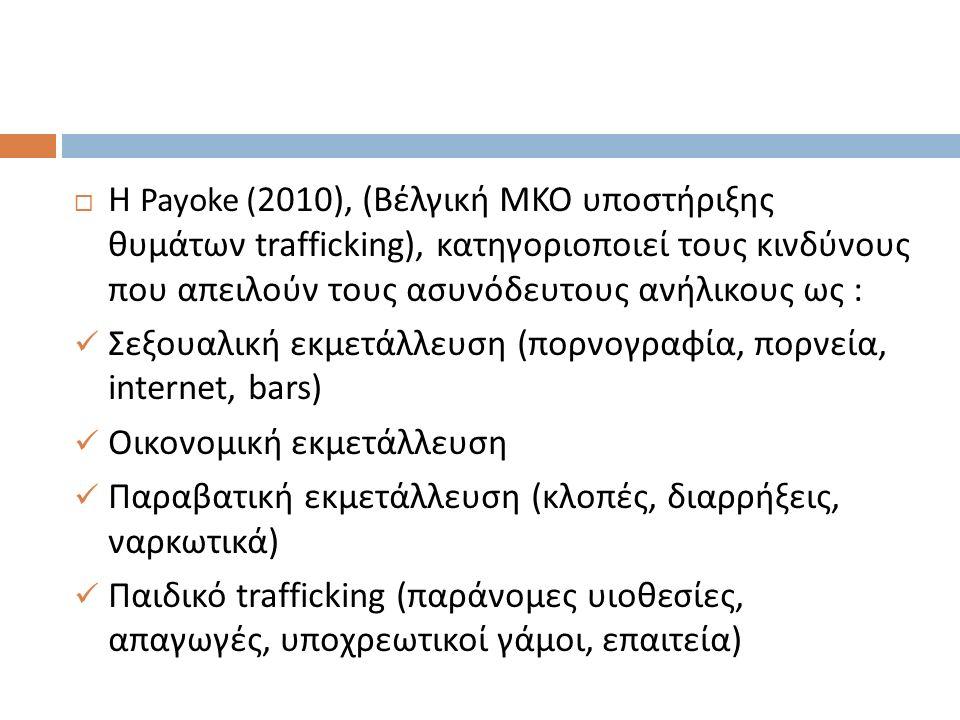  Η Payoke ( 2010), ( Βέλγική ΜΚΟ υποστήριξης θυμάτων trafficking), κατηγοριοποιεί τους κινδύνους που απειλούν τους ασυνόδευτους ανήλικους ως : Σεξουαλική εκμετάλλευση ( πορνογραφία, πορνεία, internet, bars ) Οικονομική εκμετάλλευση Παραβατική εκμετάλλευση ( κλοπές, διαρρήξεις, ναρκωτικά ) Παιδικό trafficking (παράνομες υιοθεσίες, απαγωγές, υποχρεωτικοί γάμοι, επαιτεία )