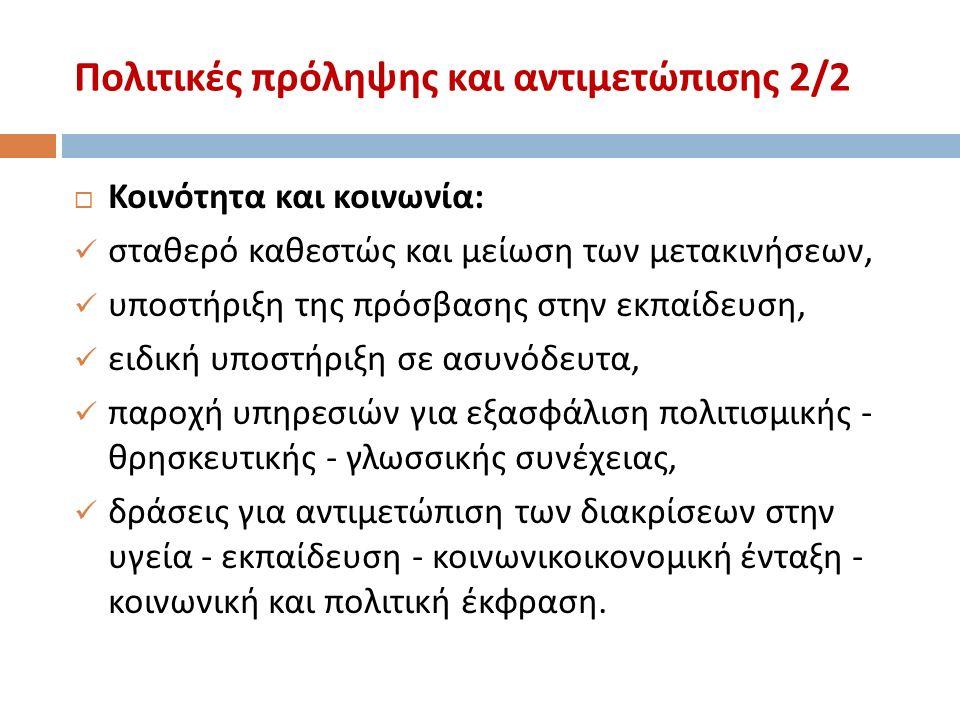 Πολιτικές πρόληψης και αντιμετώπισης 2/2  Κοινότητα και κοινωνία : σταθερό καθεστώς και μείωση των μετακινήσεων, υποστήριξη της πρόσβασης στην εκπαίδευση, ειδική υποστήριξη σε ασυνόδευτα, παροχή υπηρεσιών για εξασφάλιση πολιτισμικής - θρησκευτικής - γλωσσικής συνέχειας, δράσεις για αντιμετώπιση των διακρίσεων στην υγεία - εκπαίδευση - κοινωνικοικονομική ένταξη - κοινωνική και πολιτική έκφραση.