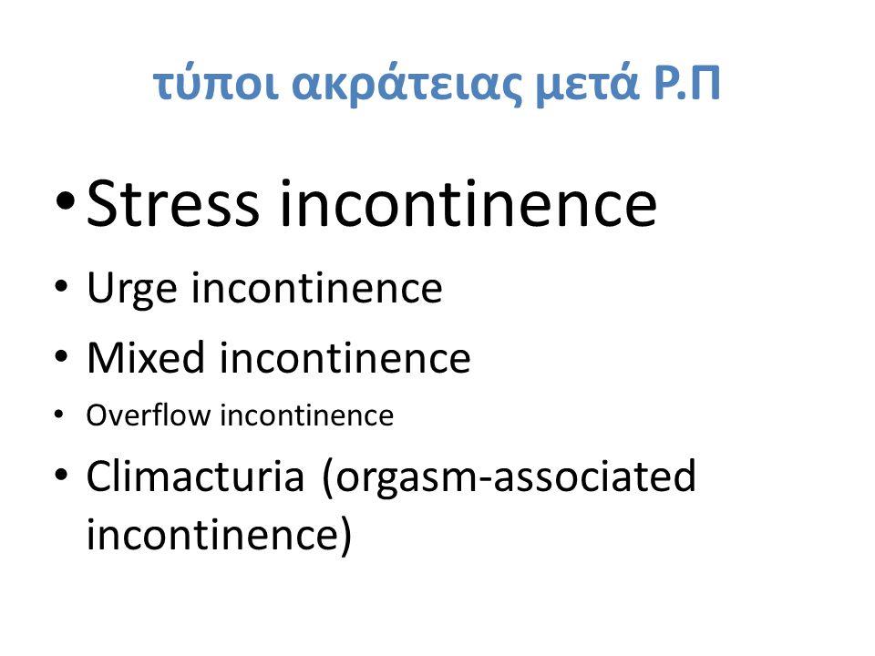 Pelvic floor muscle training (PFMT) ασκήσεις Kegel* (1951)  βελτίωση του ελέγχου της ούρησης - αύξηση της ουρηθρικής αντίστασης μέσω ενίσχυσης των μυικών ομάδων του πυελικού εδάφους  συνιστάται έναρξη προεγχειρητικά ή άμεσα μτχ ως 1 η γραμμή αντιμετώπισης-πρόληψης της stress ακράτειας ούρων μετά Ρ.Π *Kegel AH.