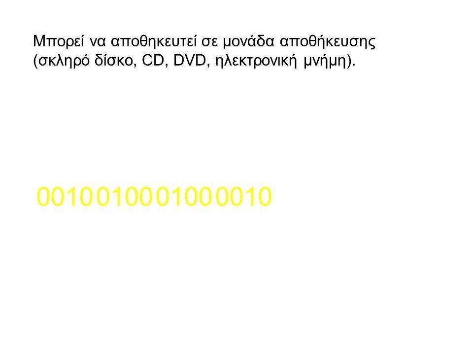 0100 0010 Μπορεί να αποθηκευτεί σε μονάδα αποθήκευσης (σκληρό δίσκο, CD, DVD, ηλεκτρονική μνήμη).