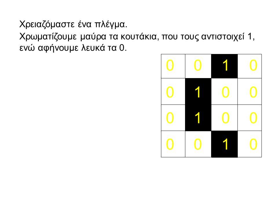 Χρωματίζουμε μαύρα τα κουτάκια, που τους αντιστοιχεί 1, ενώ αφήνουμε λευκά τα 0.